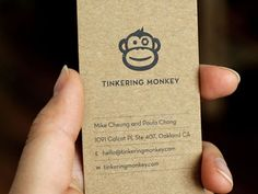 Dribbble - Tinkering Monkey business card #1 by Paula Chang
