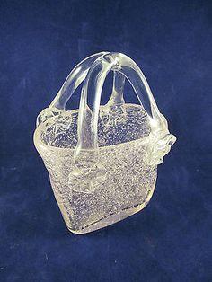 Murano Style Subtle Pink Bubble Blown Glass Handbag / Purse Vase