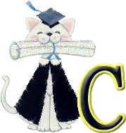Oh my Alfabetos!: Alfabeto gratis de gatito graduándose.