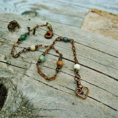 Antiqued Copper and mixed stone beads wire wrapped ankle bracelet by BearRunOriginals on Etsy.