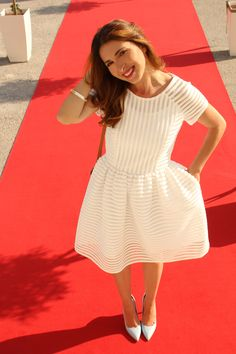 White perforated dress
