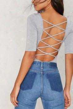 Show Down Lace Up Bodysuit - Gray