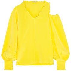 Tibi Cutout ruffle-trimmed silk crepe de chine blouse (4.365 RON) ❤ liked on Polyvore featuring tops, blouses, cold shoulder tops, cut out blouse, yellow top, open shoulder top and cut out shoulder top