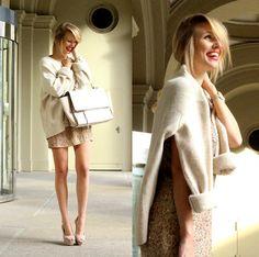 Zara Oversized Knit, Zara Sequin Dress, Zara Nude Heels, Zara Trapeze Bag, Skagen Watch
