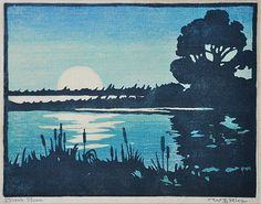"""✨ William S. Rice, (1873-1963), Marsh Moon, color woodblock print, signed, titled, 7.5"""" x 9.5"""""""