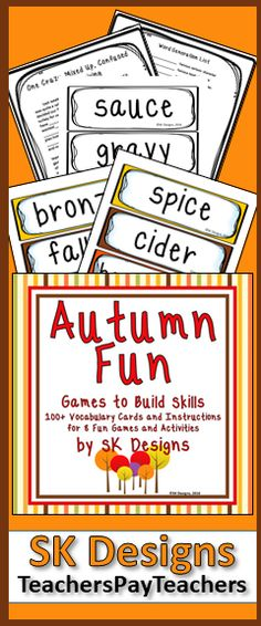 Encourage fun and promote critical thinking and academic skills during fall with vocabulary cards, games and activities! Literacy Games, Activity Games, Fun Games, Vocabulary Flash Cards, Fourth Grade, Third Grade, Thing 1, Reading Resources, Critical Thinking