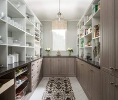 large pantry ideas 45 Gorgeous Walk-In Kitchen Pantry Ideas (Photos) This large walk-in pantry features rustic finish counters with granite countertops. This pantry Kitchen Pantry Design, Cupboard Design, Kitchen Pantries, Kitchen Storage, Pantry Cabinets, Kitchen Ideas, Kitchen Decor, Storage Room, White Cabinets