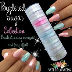 "By far, the most versatile collection of glitters and pigments offered in the industry! This is the ultimate collection for creating ""mermaid"", ""fairy dust"", and colored chrome nails! This is a set of"