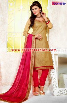 TRENDY BEIGE & PINK COLOR CHANDERI COTTON SILK FABRIC DESIGNER STRAIGHT SUIT