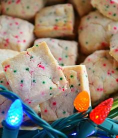Festive Shortbread Bites - change out sprinkles for any holiday!