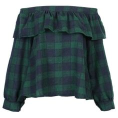 Women Green Plaid Off Shoulder Top ❤ liked on Polyvore featuring tops, blue green tops, off shoulder tops, blue off shoulder top, blue top and green off shoulder top
