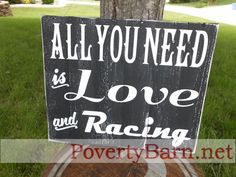 $23 Newest addition to our pallet wood signs, racing department.  Available now in the Poverty Barn Etsy shop! #HandmadeInAmerica