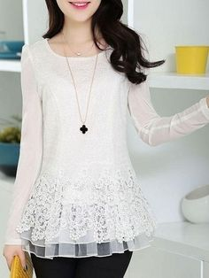 Round Neck Lace Plain Long-sleeve-t-shirt Blouse Styles, Blouse Designs, Girl Fashion, Fashion Outfits, Womens Fashion, Modelos Plus Size, Types Of Sleeves, Dress Patterns, Long Sleeve Tops