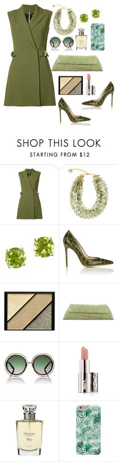 """""""Green Dress"""" by mamatoodie-1 ❤ liked on Polyvore featuring Balmain, Dominique Denaive, Effy Jewelry, Gianvito Rossi, Elizabeth Arden, Nancy Gonzalez, Chloé, Avon and Christian Dior"""