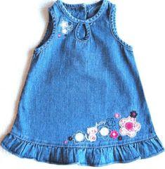 """Cinar Infant Skirt """"Lady"""" Denim Jeans Code – About Children's Clothing Girls Denim Dress, Kids Dress Wear, Little Girl Dresses, Girls Dresses, Toddler Girl Style, Toddler Fashion, Toddler Dress, Kids Fashion, Toddler Girls"""