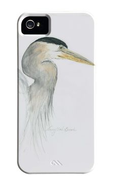 Great Blue Heron cell phone cover by Wild Art Watercolor