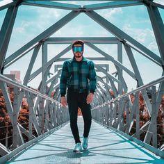 Jacket futuristic glasses blue background geometry architecture man men men's fashion chamarra chaqueta lentes futuristas geometria arquitectura blanco azul fondo hombre moda hombres Photoshoot Ideas, Man, Kicks, Running, Blue, Instagram, Blue Nails, White People, Originals