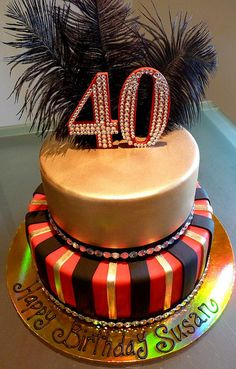 40th Birthday Cake. The cake look so refinement.