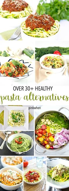 Over 30+ Low Carb and Healthy Pasta Alternatives. Popular Recipe pin! Super easy healthy meals.