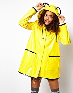 Glastonbury Festival Fashion Inspiration. ASOS Rain Mac With Ears, animal, neon yellow, waterproof coat