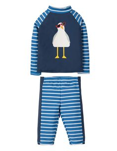 Frugi at Babipur. This Frugi Stripe Seagull Sun-Safe Set offers UPF protection and is chlorine-safe. The top has a navy body with a seagull print and blue striped raglan sleeves, and the long shorts have matching blue stripes. Knee Length Shorts, Long Shorts, Marine Blue, Baby Kind, Navy Stripes, Ethical Fashion, Kids Wear, Marie, Organic Cotton
