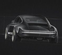 Porsche by Sydney Hardy Car Design Sketch, Car Sketch, Industrial Design Sketch, Porsche Design, Car Drawings, Love Car, Car Painting, Transportation Design, Automotive Design