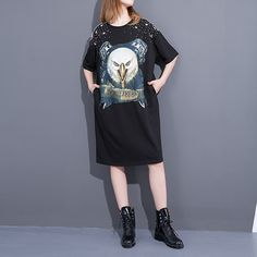 2017 Spring New Products Long Women T Shirt Loose Pluz Size O-neck T Shirt Three Quarter Sleeve Printed T Shirt Solid Color