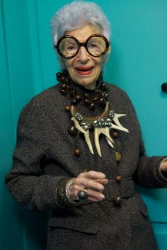 """90-year old Iris Apfel: """"I think it's a blessing when you age... put your experience to work..."""" Dig her. (Dig that antler necklace!)"""