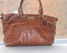 COACH Madison Embossed Exotic Sophia Satchel  Purse Brown Leather Croc RARE $498