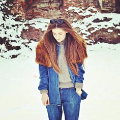 I miss you like summer misses snow and winter misses sun. Denim look with faux fur.