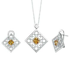 2.50 carats Princess Cut Citrine Pendant Earrings Set in Sterling Silver Rhodium Finish . $46.99