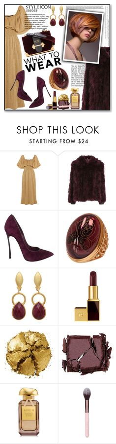 """""""OOTD by Sasoza"""" by sasooza ❤ liked on Polyvore featuring Emilia Wickstead, Topshop, Casadei, Baccarat, Tom Ford, Pat McGrath, Surratt, AERIN and Luxie"""