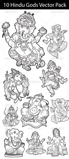 Hindu Gods Vector  #GraphicRiver         This is a black and white Illustration of 10 Hindu Gods. This is good for coloring books, reference material, or other purpose that may serve you well. All 10 illustrations are available in JPG, PNG, PSD and a collected Vector version (single vector pack).     Created: 4September13 GraphicsFilesIncluded: PhotoshopPSD #TransparentPNG #JPGImage #VectorEPS #AIIllustrator HighResolution: Yes Layered: Yes MinimumAdobeCSVersion: CS PixelDimensions…