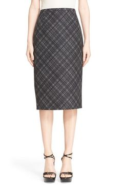 Plaid Wool Pencil Skirt March 2017