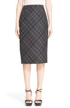MICHAEL KORS Jacquard Plaid Wool Pencil Skirt. #michaelkors #cloth #