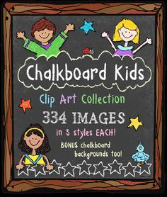 Chalk-up the SMILES with our whimsical 'Chalkboard Kids' clip art. Every image comes in 3 styles: black & white, chalk outline and crayon color. Perfect for creating for kids at home OR at school. http://www.djinkers.com/clipart/fun/chalkboard-kids-clipart-downloads/