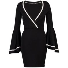 Deep V-Neck Bell Sleeve Contrast Piping Bodycon Dress ($36) ❤ liked on Polyvore featuring dresses, low v neck dress, body con dresses, long bodycon dress, deep v neck dress and bodycon dresses #bodycondresslongsleeve