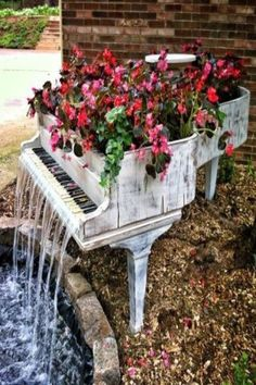 Summer...Piano Water Fall & Flowers