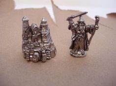 Pewter Wizard and castle figurines set