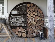 You need a indoor firewood storage? Here is a some creative firewood storage ideas for indoors. Lots of great building tutorials and DIY-friendly inspirations! Into The Woods, Outdoor Living, Outdoor Decor, Outdoor Rooms, Indoor Outdoor, Outdoor Projects, Diy Projects, Outdoor Gardens, Sweet Home
