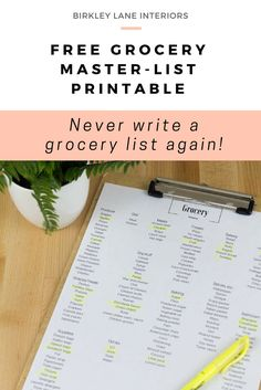 Hate writing your grocery list every week? Save time and brain power by using the ultimate Grocery Master List. Download your FREE printable here. #grocerylist #printables #freeprintables #organization #groceryshopping