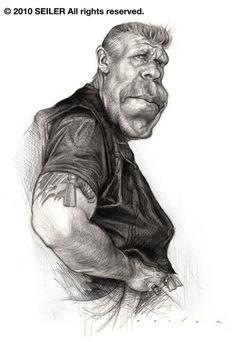 El actor Estadounidense Ron Perlman, caricaturizado por el artista Jason Seiler.     Ron Perlman po...