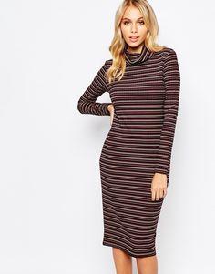 Boohoo+Striped+Rib+High+Neck+Bodycon+Midi+Dress
