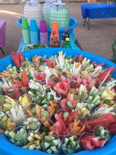 Fruit, and Aguas Frescas table for Mexican Fiesta themed party.