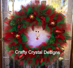 Sneaky Santa Christmas Wreath by CraftyCrystalDesigns on Etsy, $65.00