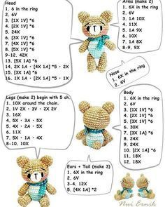 Irresistible Crochet a Doll Ideas. Radiant Crochet a Doll Ideas. Crochet Teddy Bear Pattern, Crochet Bear, Crochet Doll Pattern, Crochet Patterns Amigurumi, Amigurumi Doll, Crochet Animals, Crochet Dolls, Free Crochet, Create And Craft