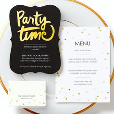 Have a sublime time at your next party! Invite your friends to share in a menu that's carefully crafted. Baby Spinach Salads, Crab Bisque, Holiday Party Invitations, Tiny Prints, Invite Your Friends, Time To Celebrate, Holiday Parties, Party Party, Party Ideas