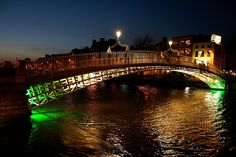 The Ha'penny Bridge, one of the most photographed landmarks in Dublin. Pedestrian Bridge, Over The River, Rms Titanic, Sydney Harbour Bridge, Dublin, Explore, Travel, Digital, Voyage