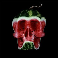 Russian artist Dimitri Tsykalov created a wonderful series of skull sculptures out of fruits and vegetables between 2005 and He has much more food-themed sculpture work on his site. via koiko. L'art Du Fruit, Deco Fruit, Fruit Art, Fresh Fruit, Fruit Sculptures, Food Sculpture, Watermelon Art, Watermelon Carving, Carved Watermelon