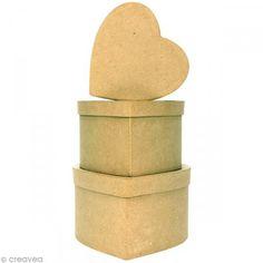 Cajas corazones 14 a 18 cm para decorar - 3 unidades - Fotografía n°1